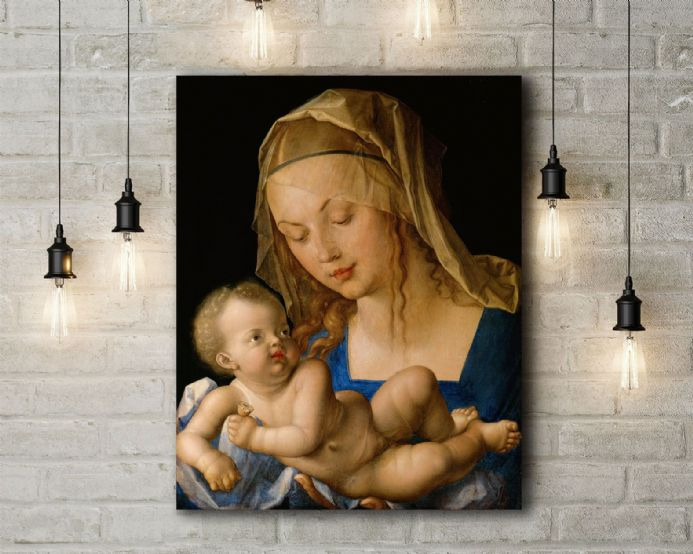 Albrecht Durer: Virgin and Child Holding a Half Eaten Pear. Fine Art Canvas.